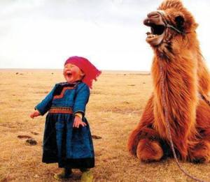 A little girl in Mongolia shares a laugh with her camel