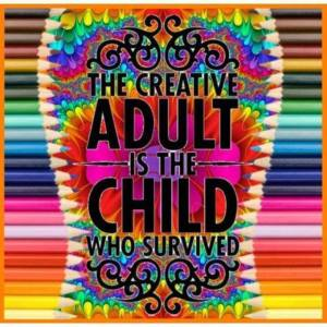 Creative adult, child survived, school